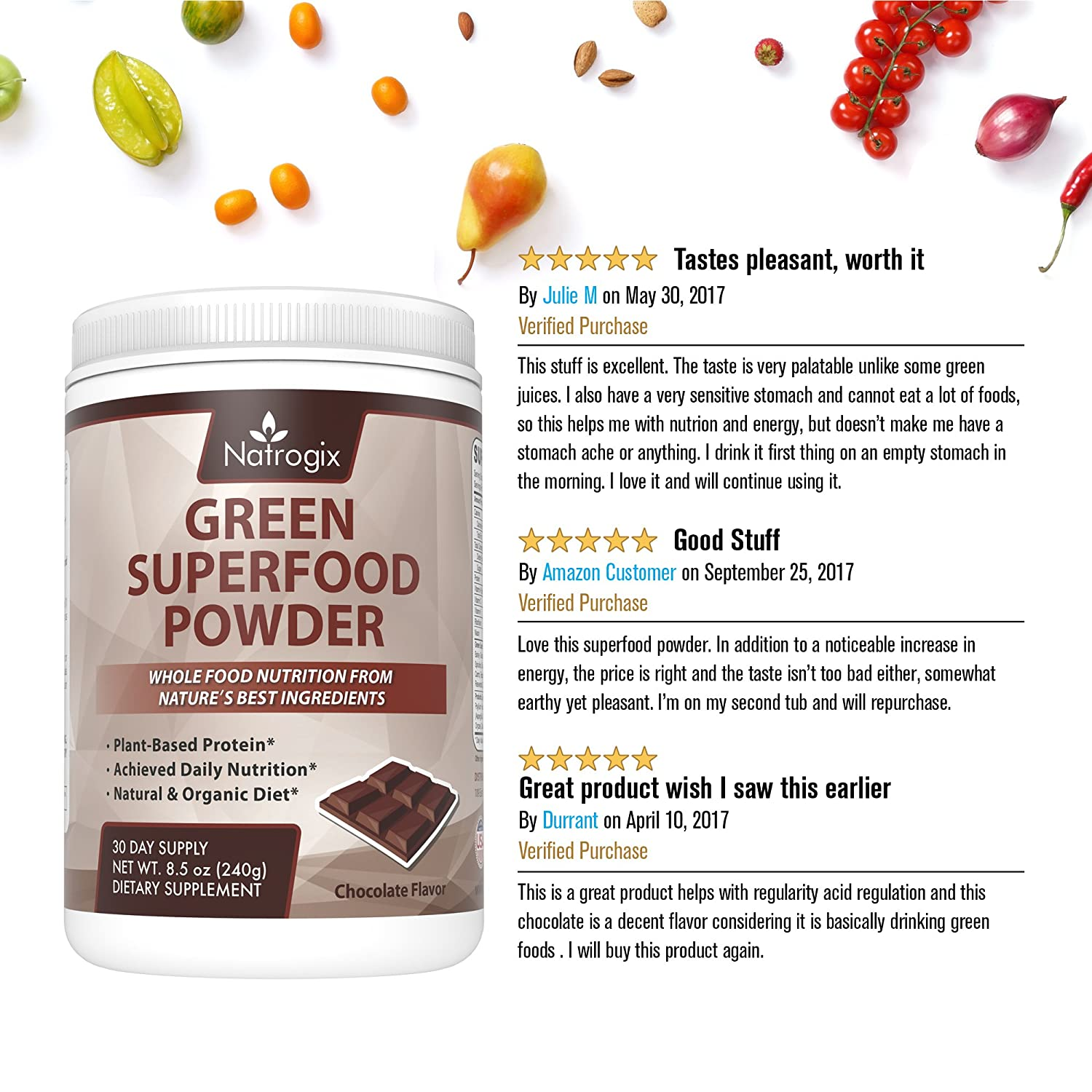 Green Superfood Chocolate, Natrogix Greens Powder Drink, Plant-Based  Protein with Rich Vitamins,