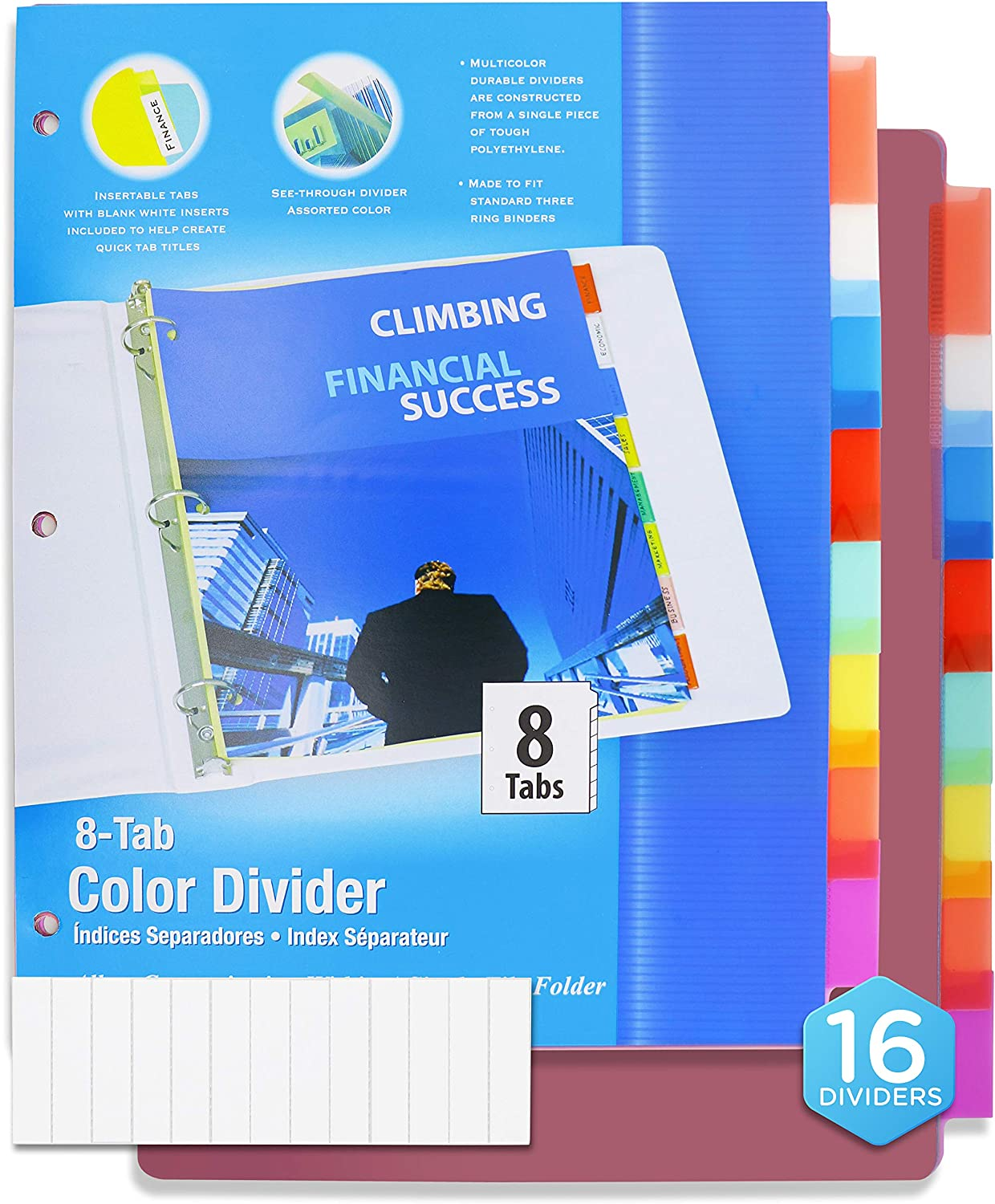 3 Ring Binder Dividers with 8 Insertable Color Tabs, Helps to Organize Documents in Single File Folder, Perfect for School, College, Kids and Adults - by Emraw (Pack of 16)