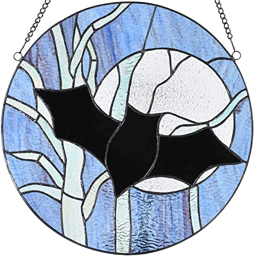 Bieye W10061 Bat Moon and Tree Tiffany Style Stained Glass Window Panel with Chain, Halloween Decor, Round Shape, 16-inch Wide.