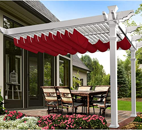 E K 3 Wx16 L Wine Red Waterproof Retractable Shade Cover for Pergola Canopy Slide on Wire Hung Canopy Wave Shade Sail Awning for Wood Pergola Patio Deck