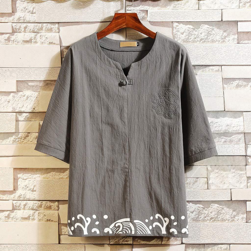Alimao Mens Short Sleeve Linen-Blend Shirt Linen Shirt Casual Solid Color Loose,Fashion Summer Lightweight Tees Blouses