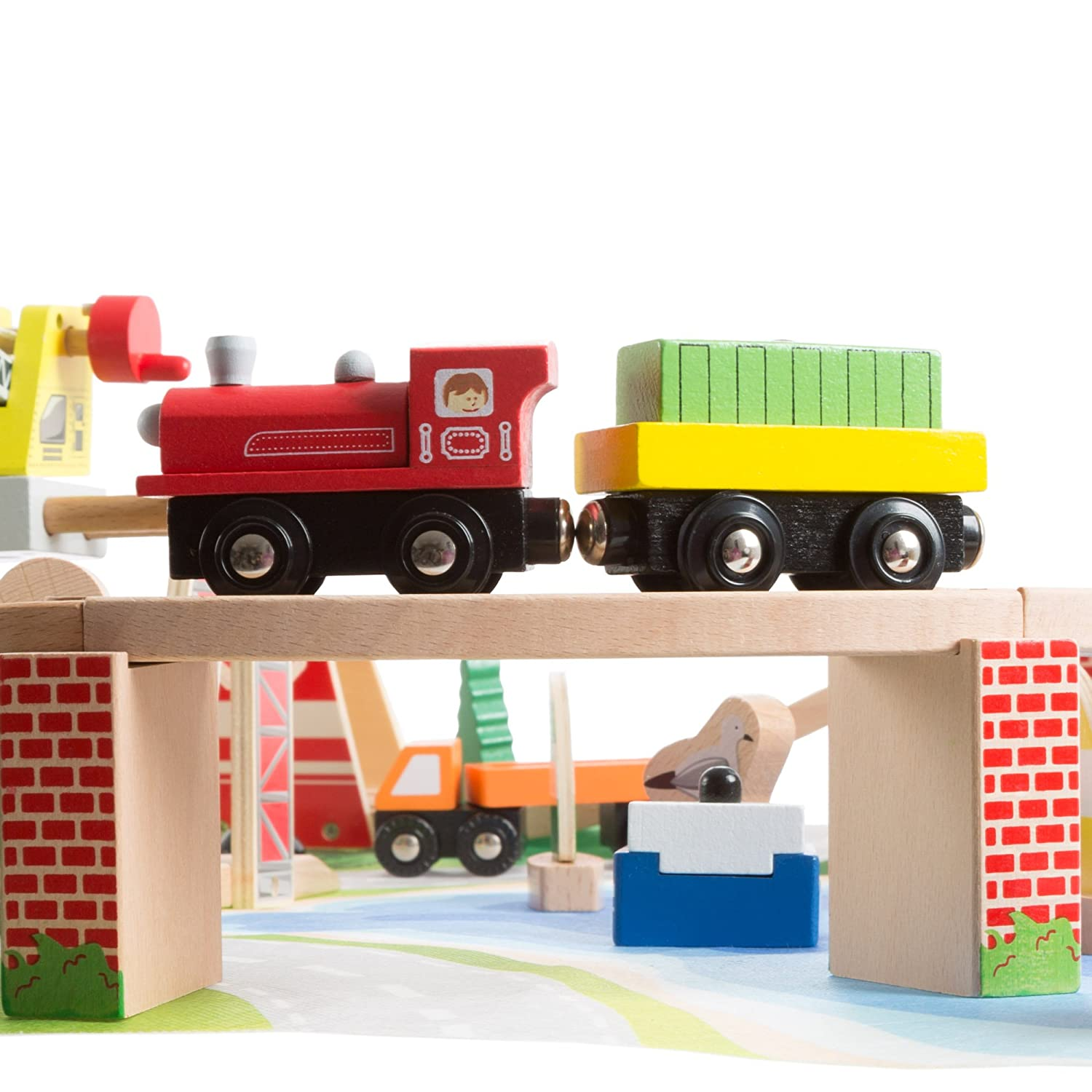 Boats Train Cars Hey Play Accessories for Boys and Girls Wooden Train Set with Play Mat for Kids-Includes Deluxe Wood Tracks