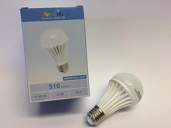 Viva de espectro total Lite® LED 12 W luz de día con Casquillo E27: Amazon.es: Iluminación