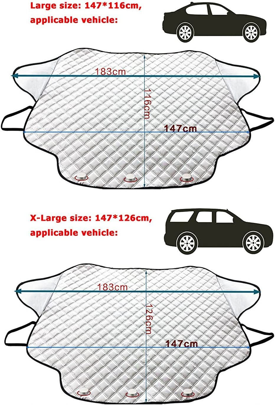 GREATWILD Car Windscreen Snow Cover Magnetic Windshield Cover Windproof Magnetic Edges Waterproof Large for Standard Auto//Oversized for SUV Truck