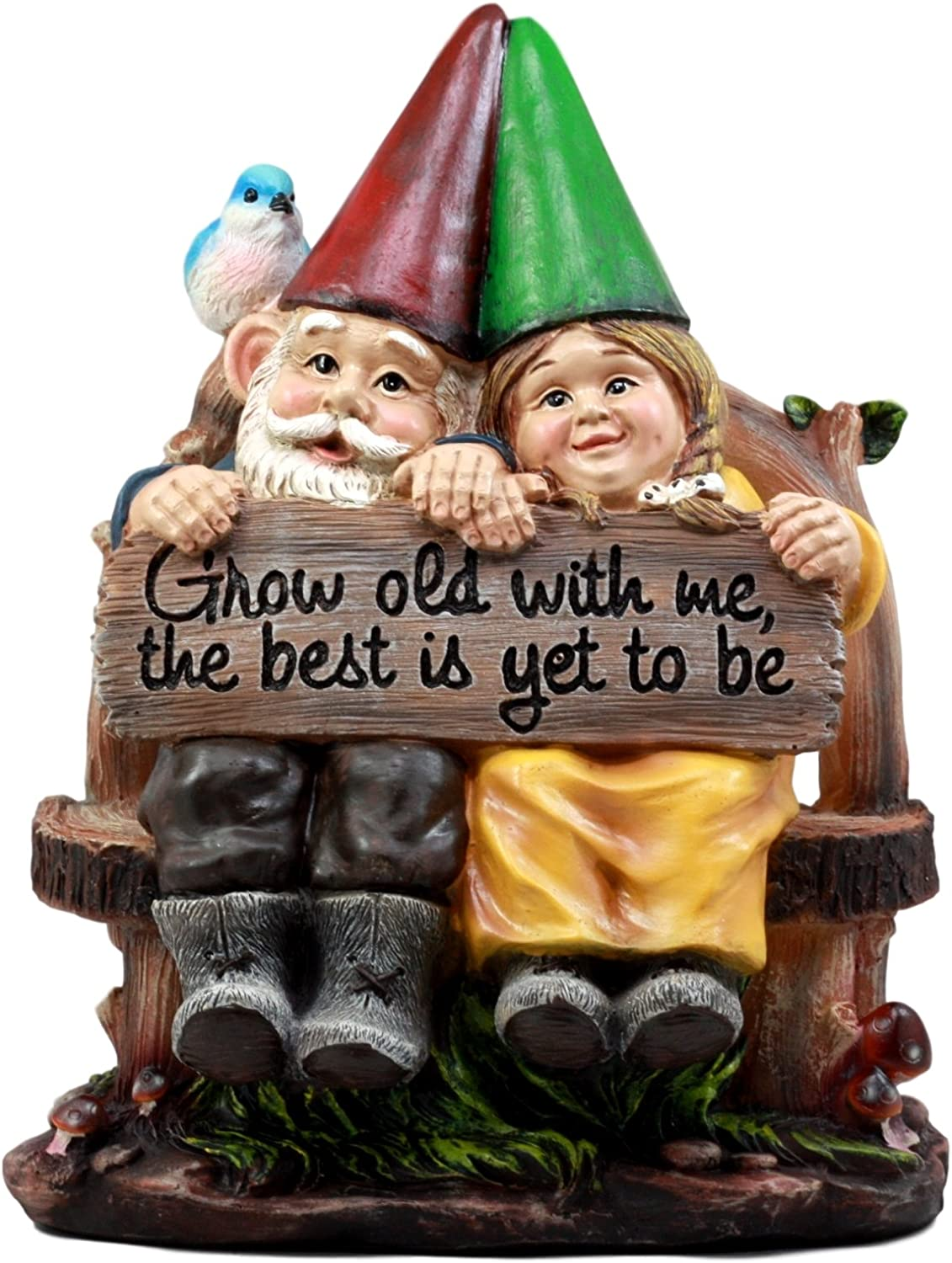 Ebros Gift Whimsical Mr & Mrs Gnome Sitting On Rustic Chair with Blue Bird Statue Grow Old with Me Guest Greeter Patio