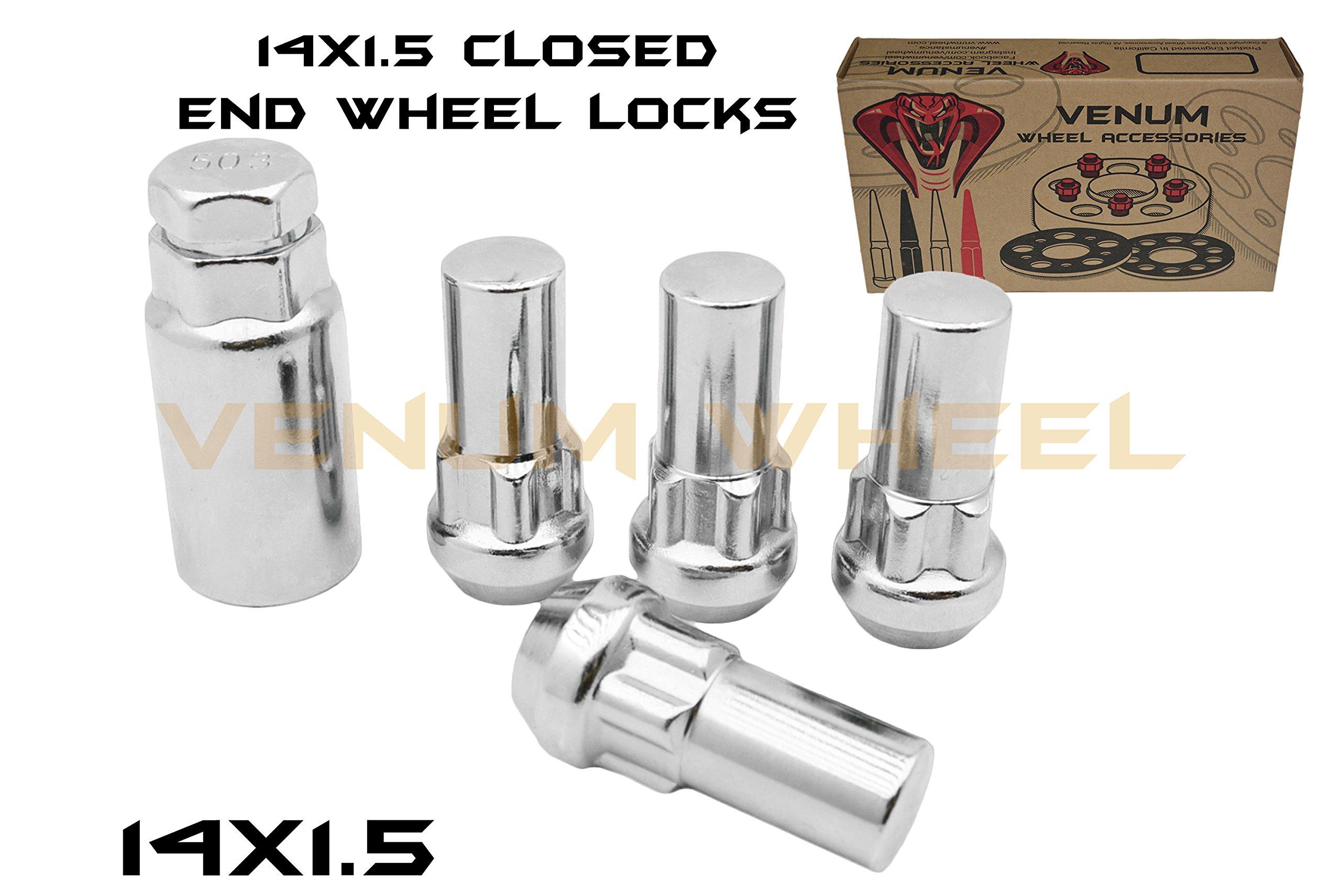4pc Chrome Anti-Theft Wheel Locking locks M14x1.5 2'' Tall + 1 Key Fits Chevrolet Silverado 1500 2500 3500 Ford Raptor F-150 F-250 F-350 GMC Sierra Toyota Dodge RAM 1500 Jeep Grand Cherokee SRT