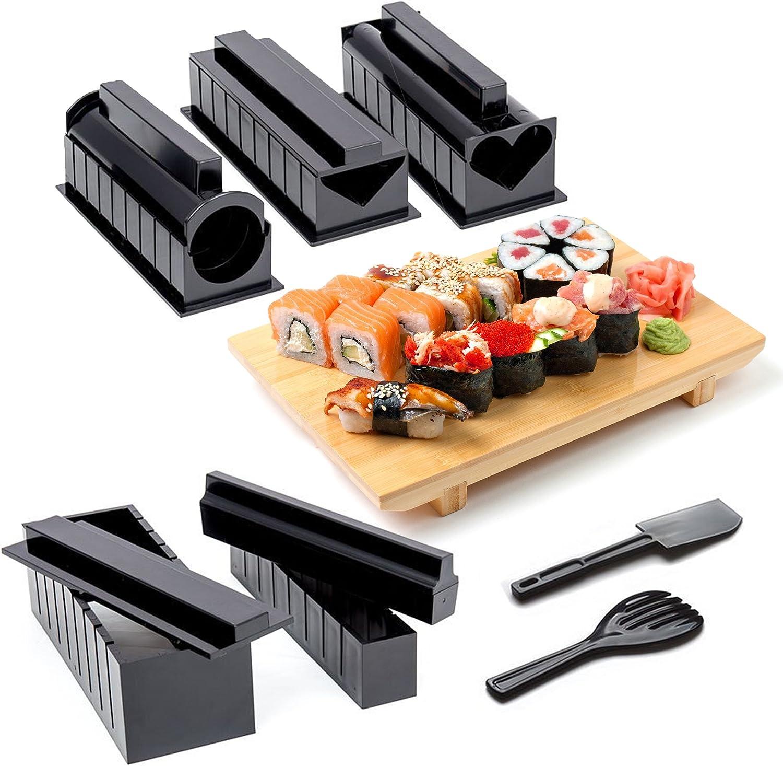 11 Pièces| Kit de Sushi Complet avec Maker Sushi, 5 Moules, Fourchette à Riz et Spatule, Couteau - 100% Sans BPA, Facile à Nettoyer et à Utiliser, Va au Lave-Vaisselle| Instructions Incluses.
