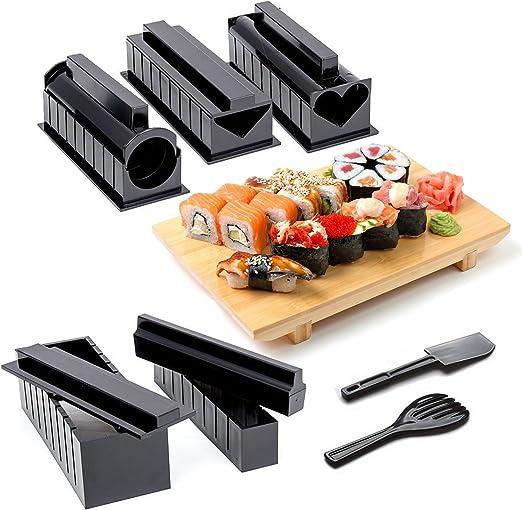 11-Piezas Kit Completo para Hacer Sushi con Sushi Maker, 5 Moldes ...