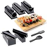 Sushi Komplett Paket, Vollständiges Set bestehend aus 10 Teilen, 5 Formen und Zubehör Sushi Maker (Detaillierte Anleitung inklusive)