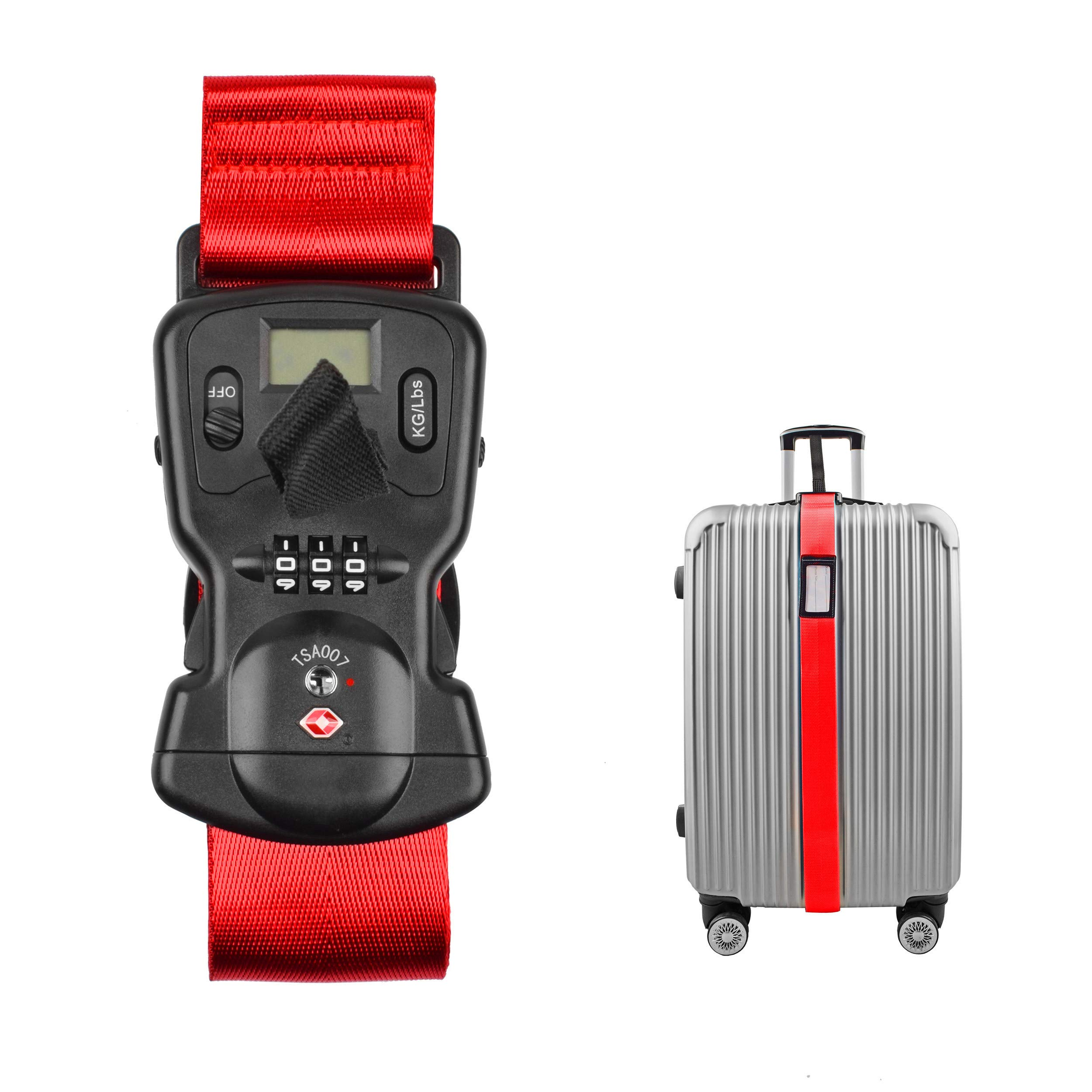 Smaior TSA Approved Luggage Straps Suitcase Belts, Baggage Straps Electronic Scale Password Lock-Available in 3 colors(Red) by Smaior