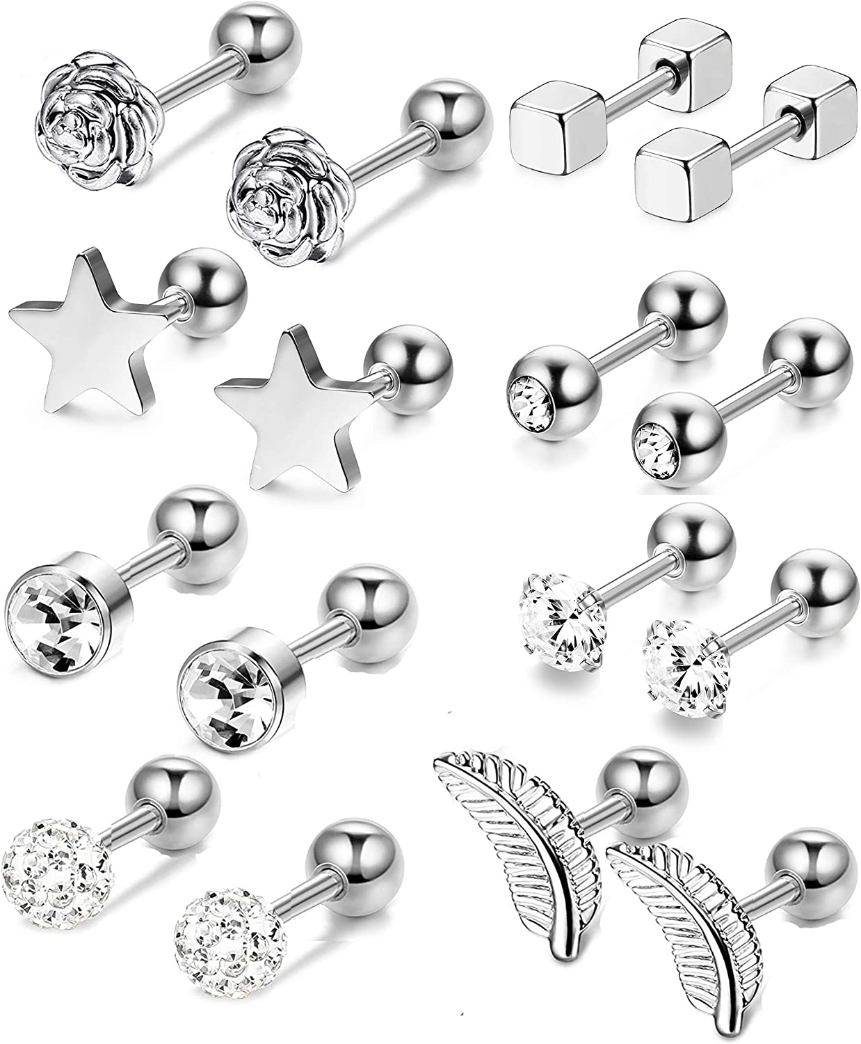 Thunaraz 8Pairs 16G Helix Cartilage Trague Earrings for Women Men Heart Rose Flower Star Earrings Cubic Zirconia Inlaid Cartilage Stud Barbell Ear Piercings Jewelry