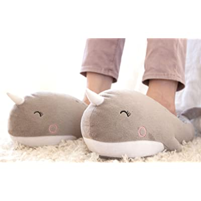 Smoko Adorable Plush Narwhal USB Heated Slippers: Sports & Outdoors