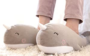 Smoko Adorable Narwhal Slippers, Unicorn of The Sea, Plush Squishy Moccasins