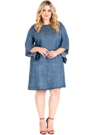 78a9b4a13fb Standards   Practices Plus Size Women s Flounce Flare Sleeve Denim Shift  Dress ...
