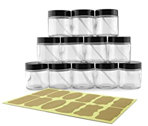 4-Ounce Clear Glass Jars (12-Pack); Straight-Sided Containers for Cosmetics and Food Storage with Spatulas and Labels