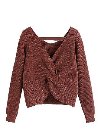 SweatyRocks Women's V Neck Twist Back Loose Fit Knit Pullover ...