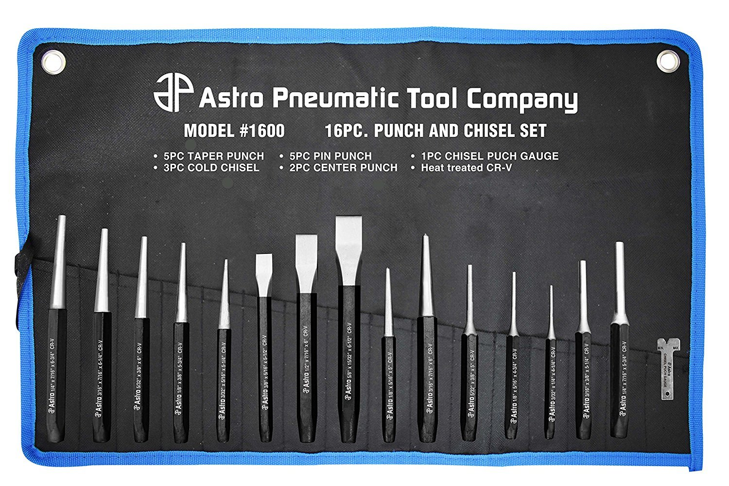 Astro Pneumatic Tool. 1600 16-Piece Punch and Chisel Set (Limited Edition)