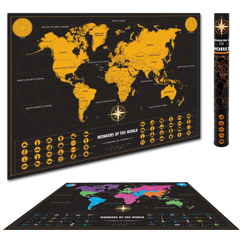 OwenUp Weltkarte zum Rubbeln XXL mit Packlist und Zubehör - Deluxe Städte Edition Schwarz - Scratch Off Map - Schöne Erinnerung an bisherige Reisen für jeden Globetrotter (82.5 x 59.4 cm)