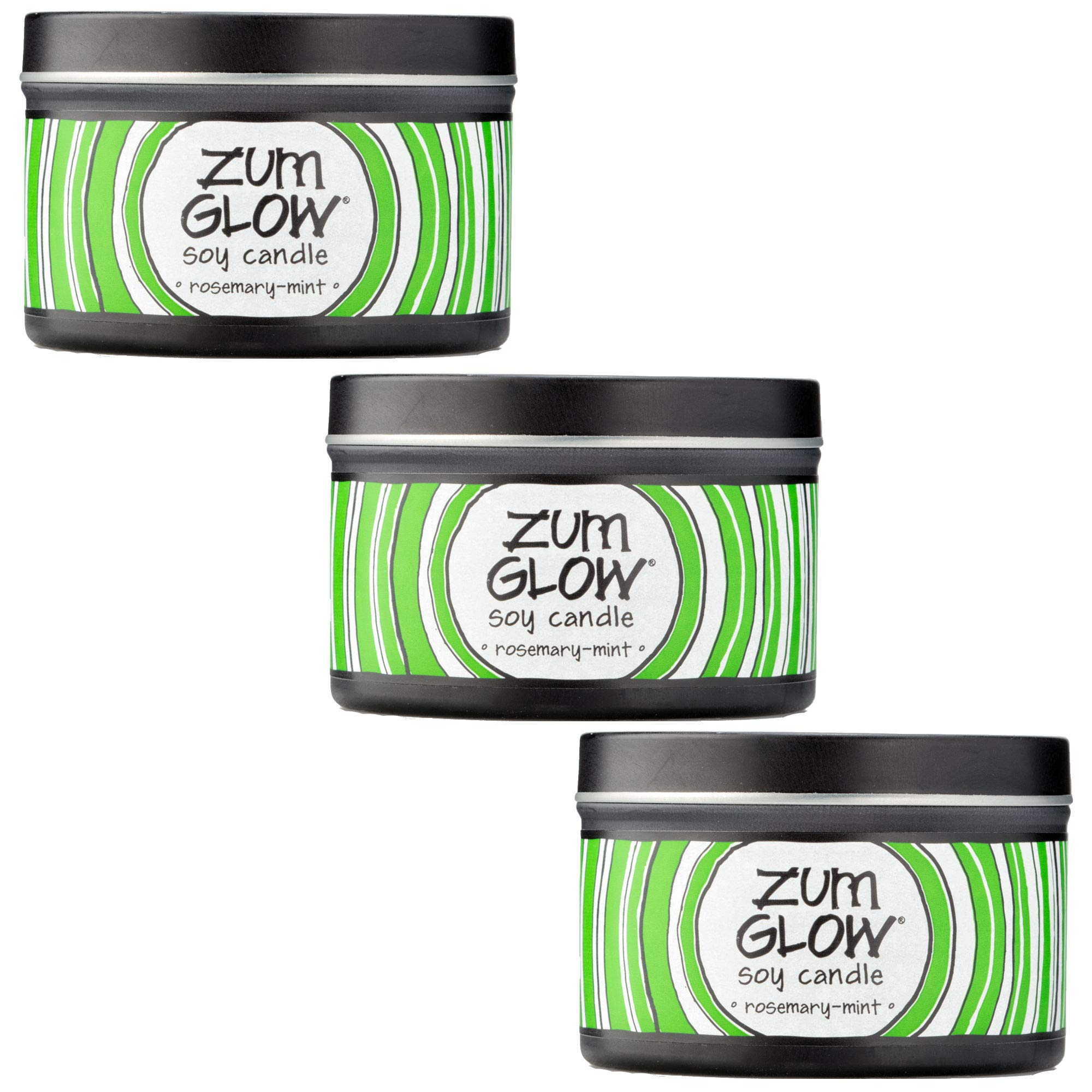 Indigo Wild Rosemary-Mint Zum Glow Soy Aromatherapy Candles, 7oz. - 3 Pack by Indigo Wild