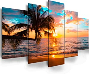 Abstract Framed Canvas Wall Art - Ephany Art - Ocean Beach Sea Photo Strenth Framed Wall Art,Abstract Landscape Blue Sky Beach pictures Wall Art Canvas Print Frame Picture Painting for Room Home Decorations (C-5pcs,60