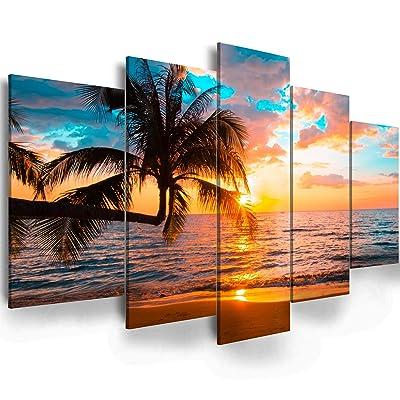 Tropical Blue Sky Sea Beach Coconut Trees Canvas Prints Painting Wall Art 5PCS