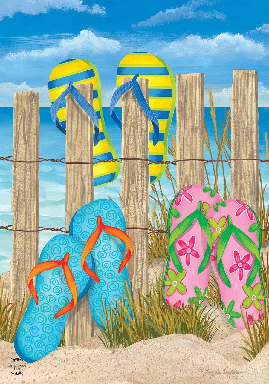 """Briarwood Lane Toes in The Sand Summer House Flag Flip Flops Fence 28"""" x 40"""""""