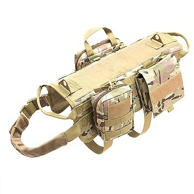 Petvins Tactical Dog Molle Vest Harness K9 Adjustable Outdoor Training Service Camouflage Harness