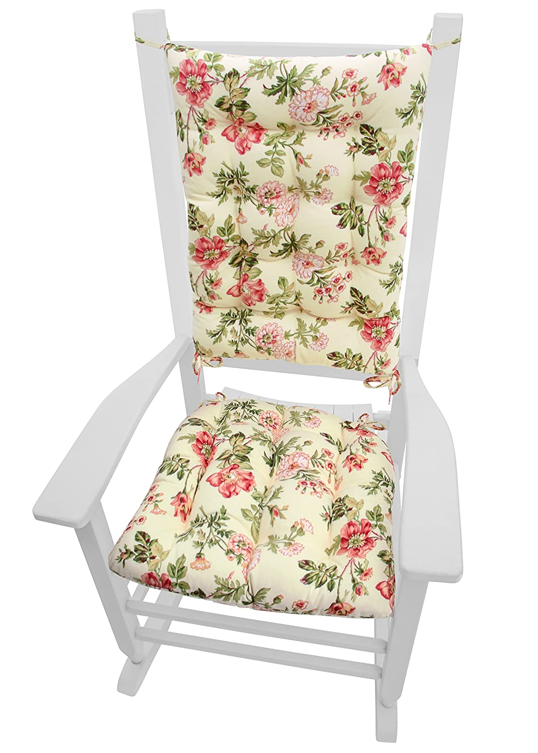 Amazon.com: Rocking Chair Cushions   Farrell Wild Rose Pink   Seat Cushion  And Back Rest With Ties   Reversible, Latex Foam Fill   Made In USA    Prairie ...