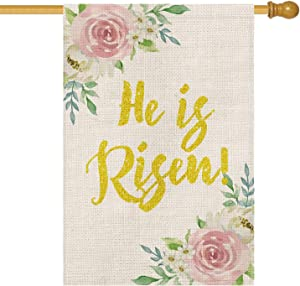 AVOIN He is Risen House Flag Vertical Double Sided Spring Flowers, Easter Yard Outdoor Decoration 28 x 40 Inch