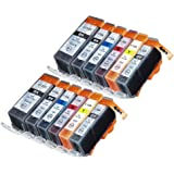 12 Pack Compatible Canon CLI-526 , PGI-525 2 Small Black, 2 Cyan, 2 Gray, 2 Magenta, 2 Yellow, 2 Big Black for use with Canon Pixma MG6250, Pixma MG8250. Ink Cartridges for inkjet printers. CLI-526BK , CLI-526C , CLI-526GY , CLI-526M , CLI-526Y , PGI-525BK © Cartridge Net
