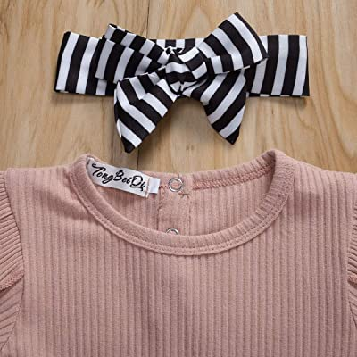 Newborn Baby Headband 0-3yrs Long Sleeve Holiday Warm Jumpsuit Bow 2Pcs Tops