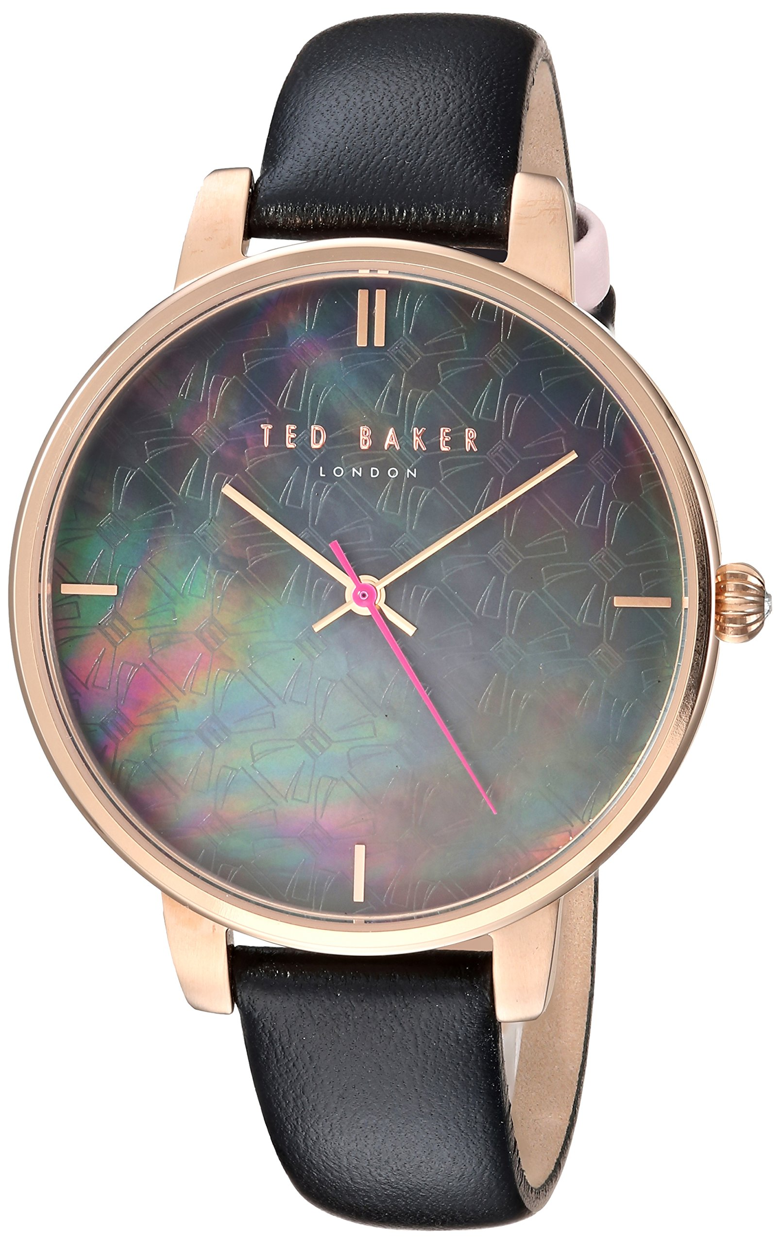 Ted Baker Women's 'KATE' Quartz Stainless Steel and Leather Casual Watch, Color:Black (Model: TEC0025001)