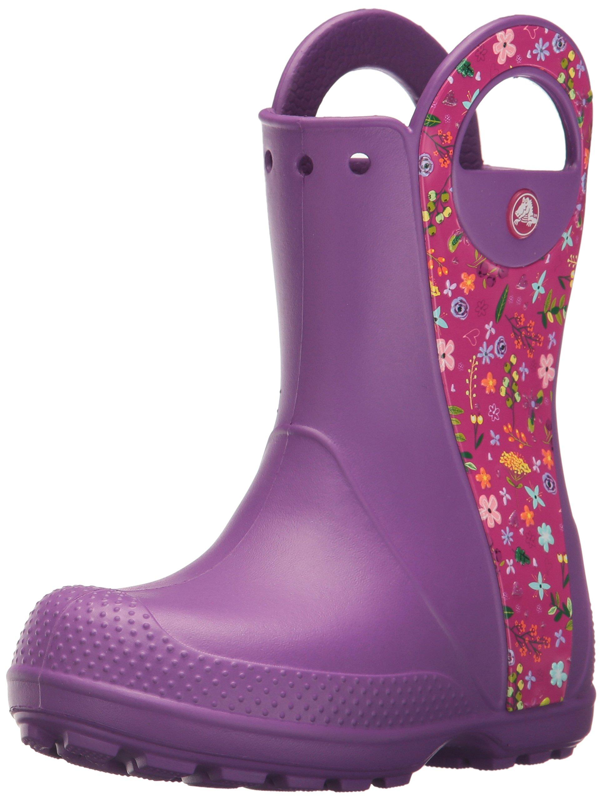 crocs Kids' Handle It Graphic Rain Pull-On Boot, Amethyst, 1 M US Little Kid
