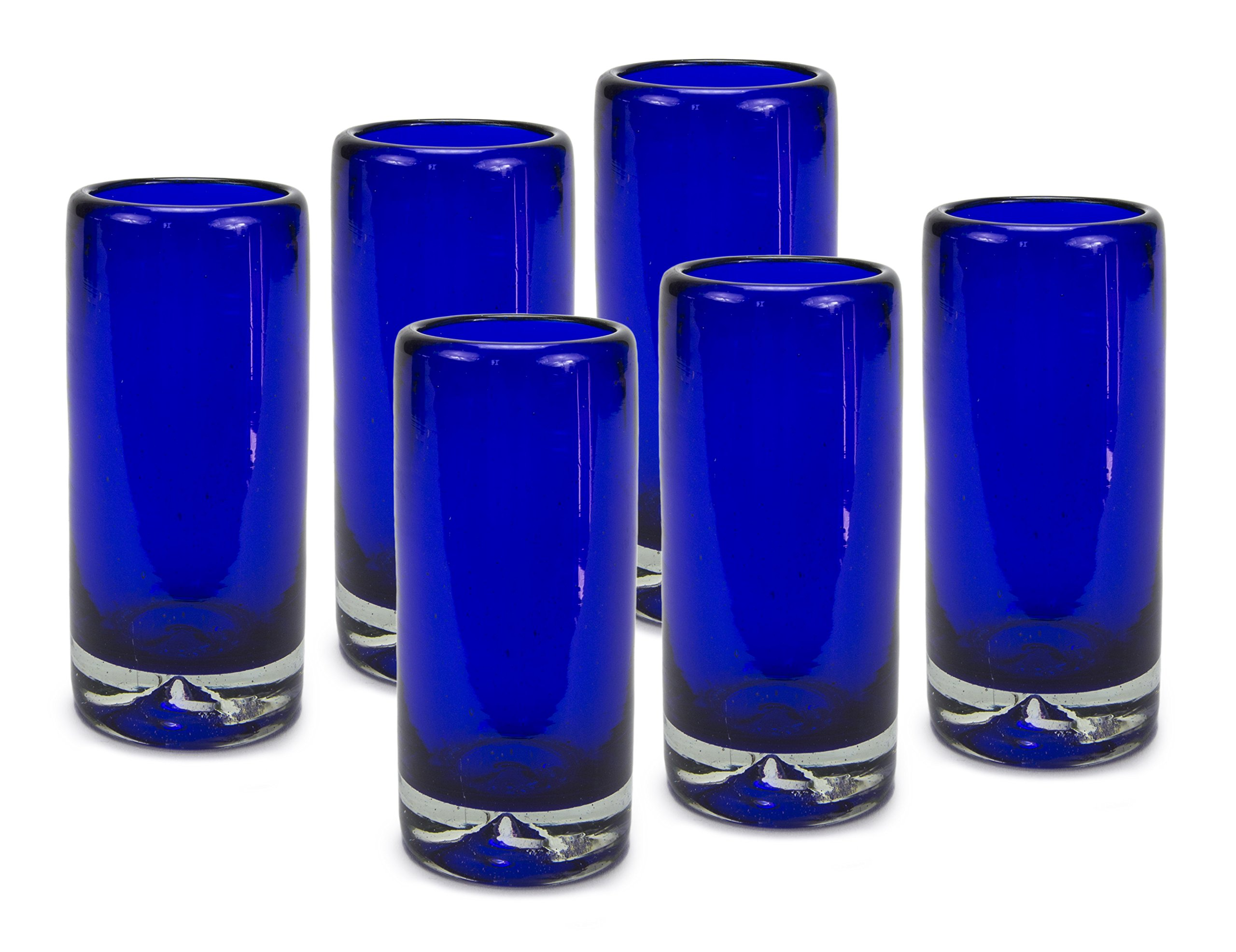 MEXART Artisan Crafted Hand Blown Solid Blue Recycled Glass Shots Glasses, 2 oz. 'Classic' (set of 6)
