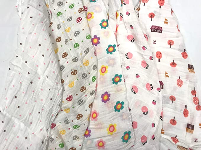 Piezas de tela cuadrada de 70 x 70 cm de muselina, 100% algodón, 5 unidades: Amazon.es: Bebé
