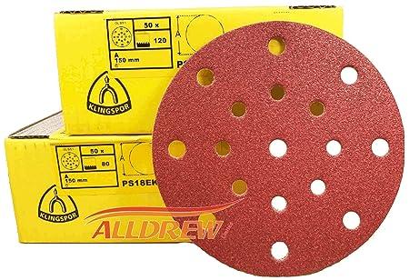 150mm Sanding Discs KLINGSPOR Sandpaper 17 Hole Pads Hook & Loop FESTOOL Rotex/ETS Replacement Business, Industry & Science Sanding Discs 25, Grit 40 - Coarse