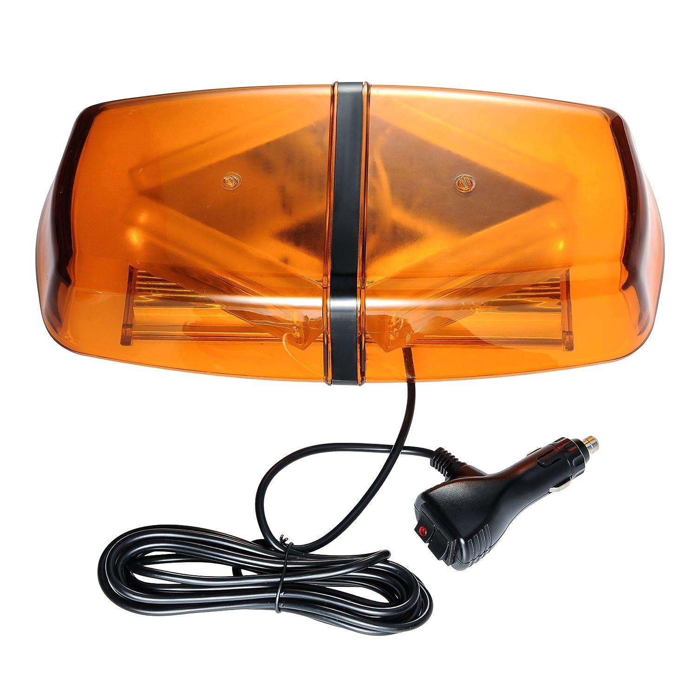 Appow 40 W COB Gyrophare OrangeLED stroboscopique d'urgence Détresse haute intensité Top Roof Police Mini Car Truck Barre lumineuse étanche avec base (12V-24 VCC)