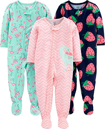 Simple Joys by Carters Baby and Toddler Girls 3-Pack Loose Fit Fleece Footless Pajamas