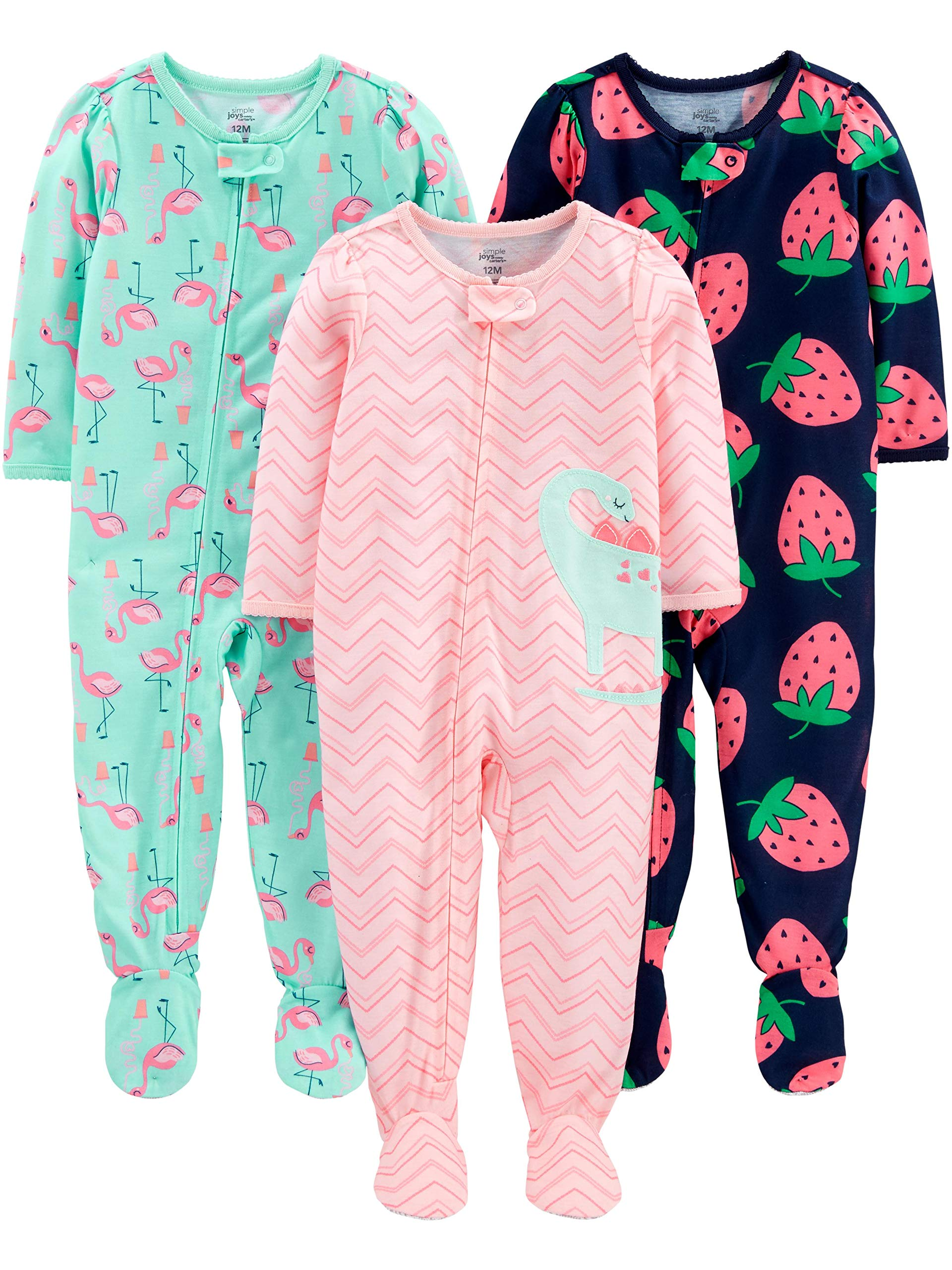 Simple Joys by Carter's Girls' 3-Pack Loose Fit Flame Resistant Polyester Jersey Footed Pajamas, Dino/Strawberry/Flamingo 12 Months