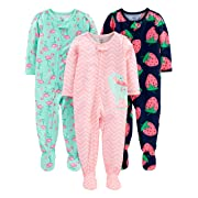 Simple Joys by Carter's Girls' 3-Pack Loose Fit Flame Resistant Polyester Jersey Footed Pajamas, Dino/Strawberry/Flamingo, 6-9 Months