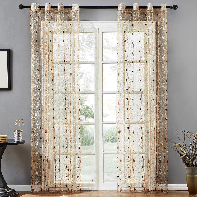 Otoñal cortina transparente con patrón de círculos. Múltiples tamaños y diseños.