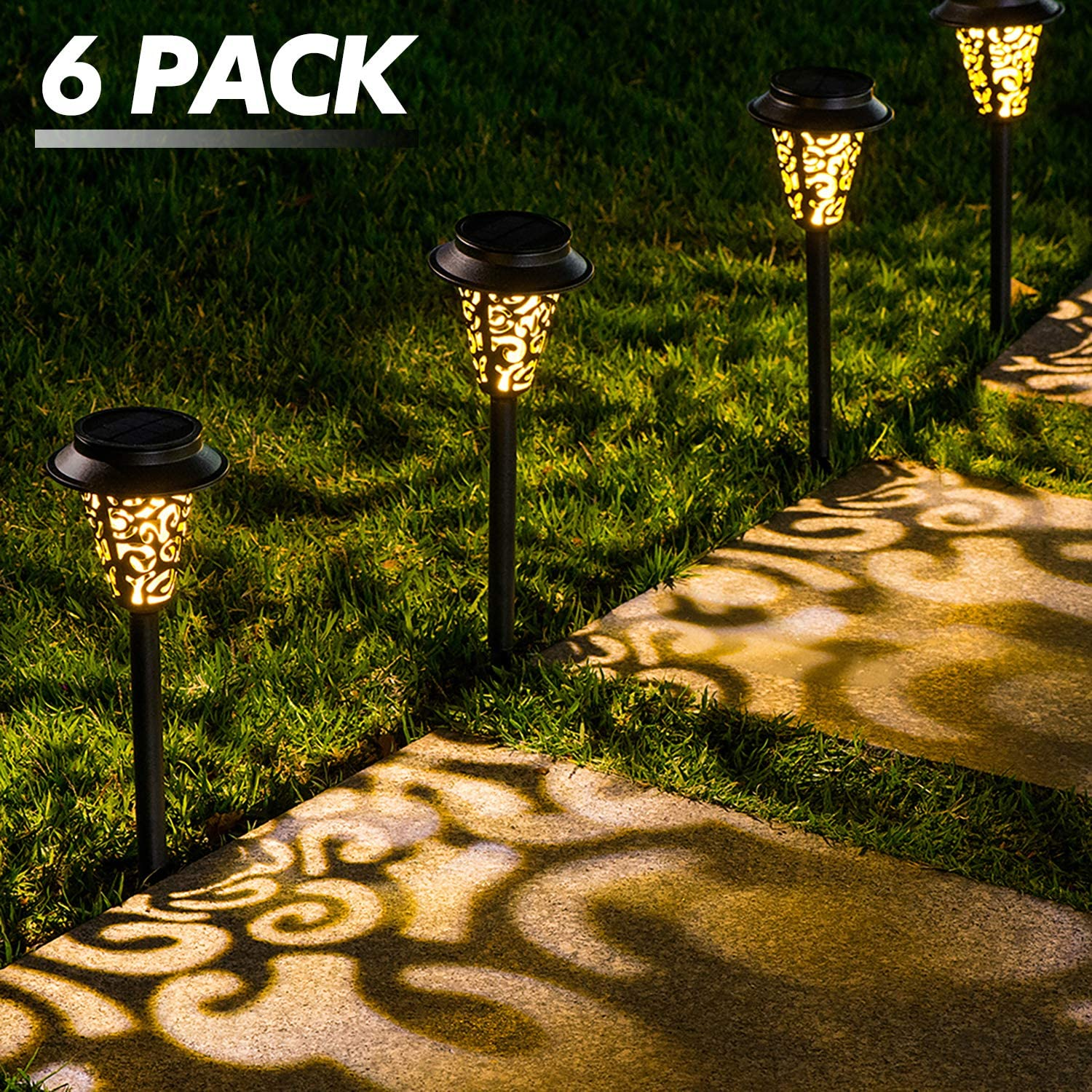 LeiDrail Solar Pathway Lights Outdoor Garden Path Light Warm White LED Black Metal Stake Landscape Lighting Decorative Waterproof for Yard Patio Walkway Lawn In-Ground Spike - 6 Pack