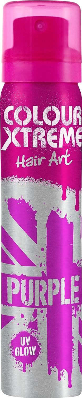 Colour Xtreme UV Glow Hair Art Spray Purple 75ml Unknown