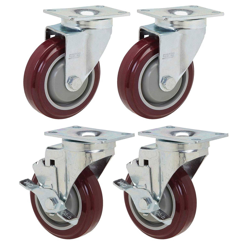 """New 12 Heavy 2/"""" Swivel Caster set Rubber Wheels Bearings Plate Base Mount"""