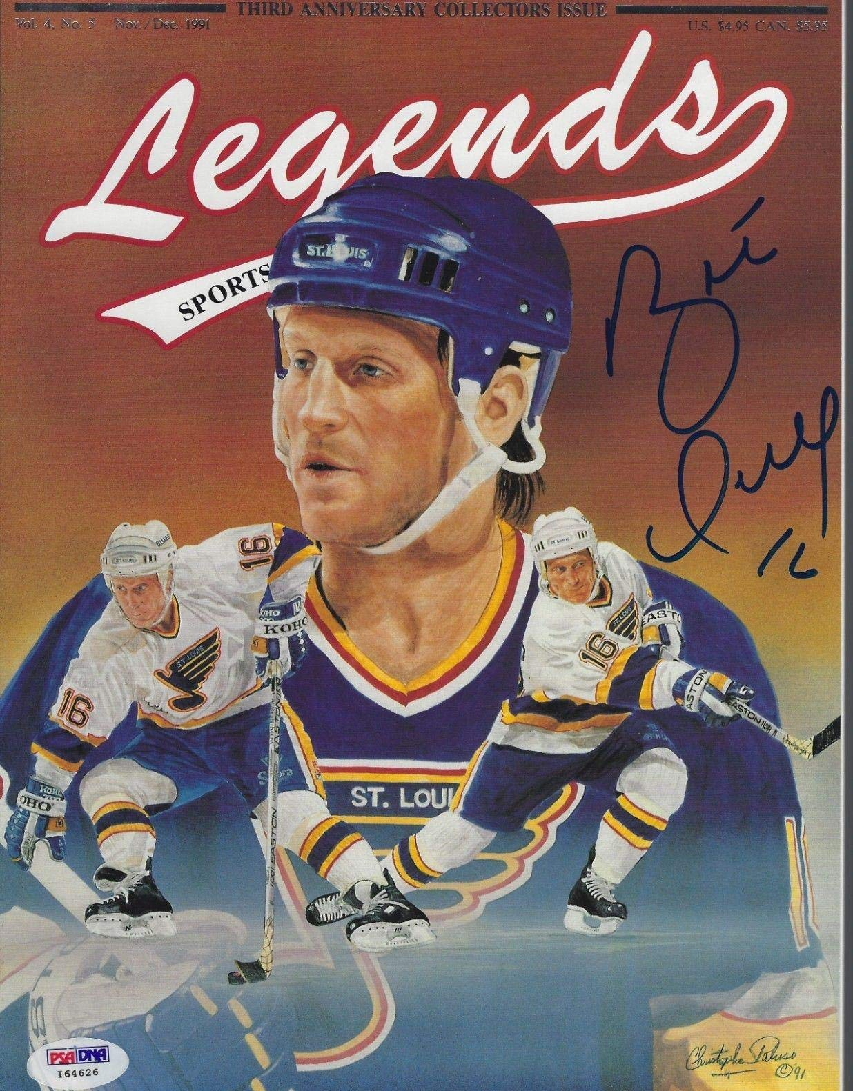 BRETT HULL (Blues) Signed LEGENDS Magazine with COA (NO Label) PSA/DNA Certified Autographed NHL Magazines