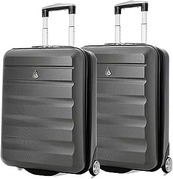 Aerolite 55x40x20 Ryanair H/öchstbetrag 2-Rad Leichtgewicht Hartschale Bordgep/äck Handgep/äck Kabinentrolley Reisekoffer Trolley Koffer Kohlegrau//Gold