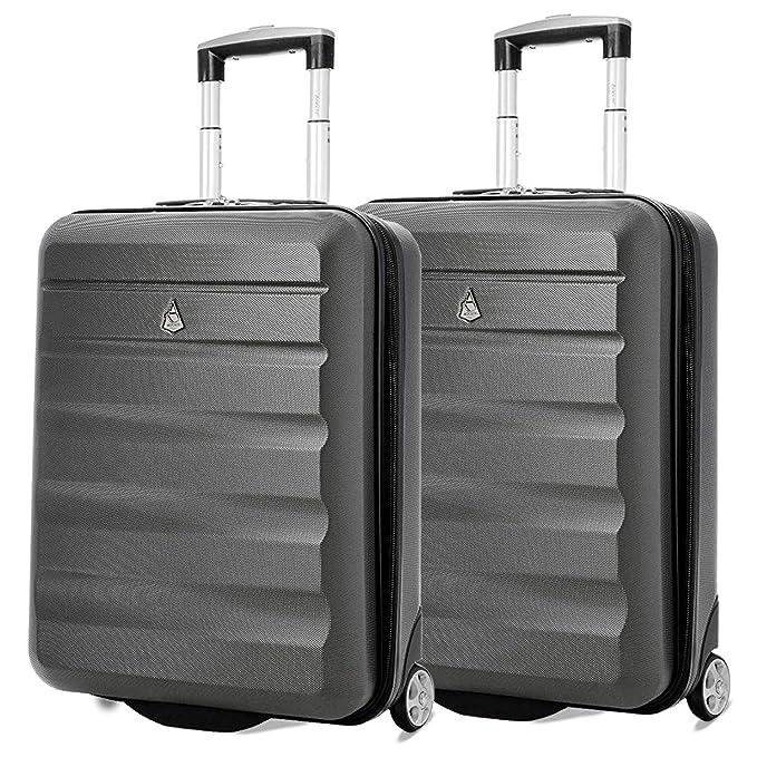 Aerolite 55x40x20 Tamaño Máximo de Ryanair y Vueling ABS Trolley Maleta Equipaje de Mano Cabina Ligera con 2 Ruedas