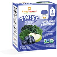 Happy Squeeze Organic Superfoods, Twist Organic Apple/Kale/Blueberry, 3.17 Ounce (Pack of 16)
