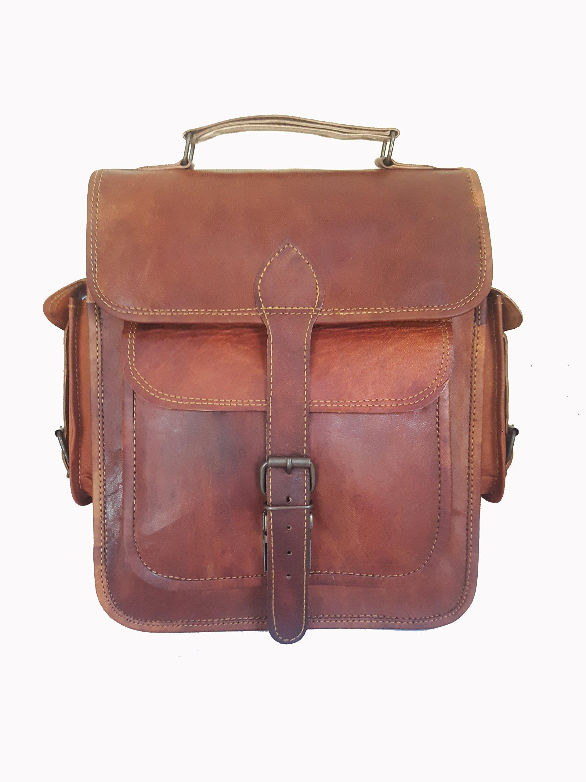 "Maison De Cuir Compatible for 12"" Handmade Vintage Leather Satchel Backpack Laptop Bag Ipad Apple"