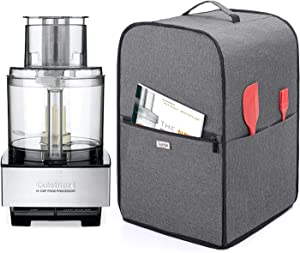 Luxja Food Processor Cover for Cuisinart and Hamilton Beach 11-14 Cup Processor, Food Processor Dust Cover with Accessories Pockets, Gray